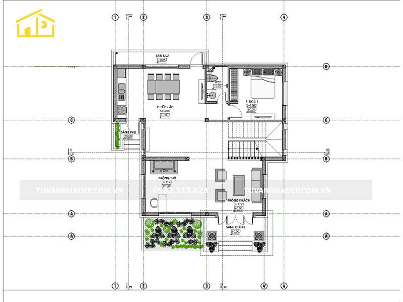 hình ảnh mặt bằng tầng 1 nhà 2 tầng mái thái 4 phòng ngủ 120m2