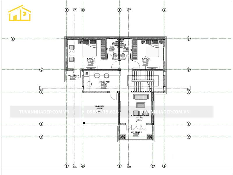 bố trí công năng tầng 2 nhà 2 tầng mái thái 4 phòng ngủ 120m2