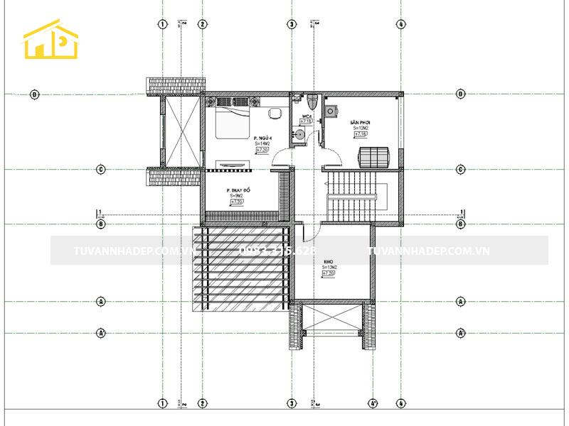 công năng tầng tum nhà 2 tầng mái thái 4 phòng ngủ 120m2
