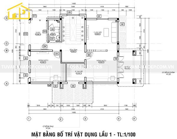 cách sắp xếp mặt bằng lầu 1 nhà 3 tầng mái thái mặt tiền 8m