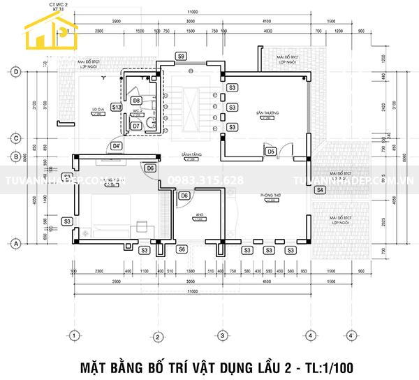 bố trí công năng lầu 2 nhà 3 tầng mái thái mặt tiền 8m