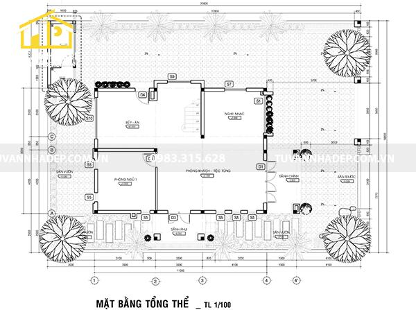 bố trí mặt bằng tổng thể nhà 3 tầng mái thái mặt tiền 8m