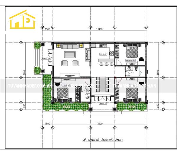 cách bố trí mặt bằng công năng nhà cấp 4 3 phòng ngủ 120m2