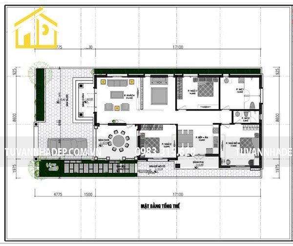 bố trí công năng nhà cấp 3 phòng ngủ mặt tiền 9m