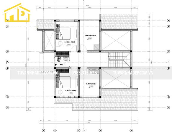 chi tiết mặt bằng tầng lửng nhà cấp 4 có gác lửng 130m2