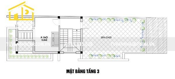 hình ảnh mặt bằng tầng 3 nhà phố 2 mặt tiền 60m2