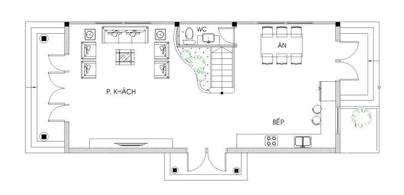 hình ảnh mặt bằng tầng 2 biệt thự 2 tầng mặt tiền 9m