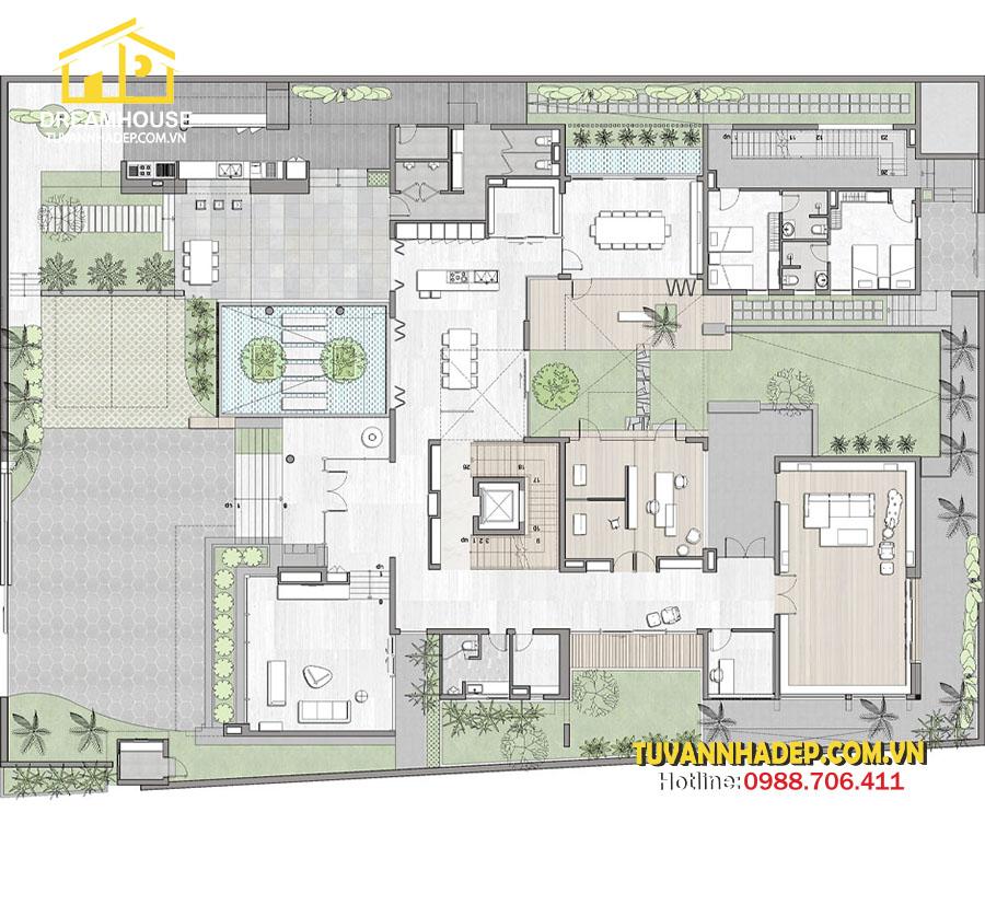 bản vẽ mặt bằng tầng 1 Mẫu biệt thự hiện đại 3 tầng 250m2 không gian mở mới lạ ở Hà Nội