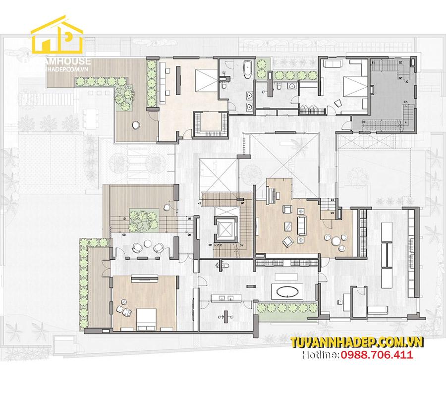 bản vẽ mặt bằng tầng 2 Mẫu biệt thự hiện đại 3 tầng 250m2 không gian mở mới lạ ở Hà Nội
