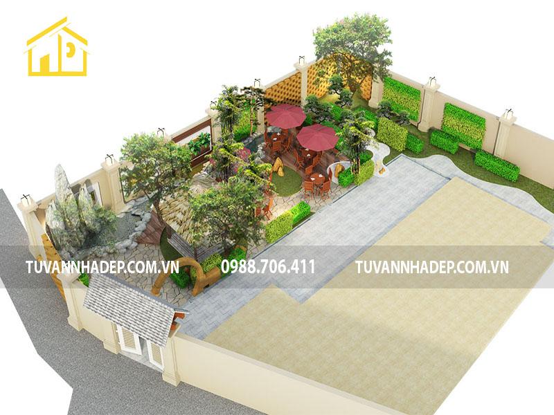 thiết kế sân vườn quán cafe 150m2