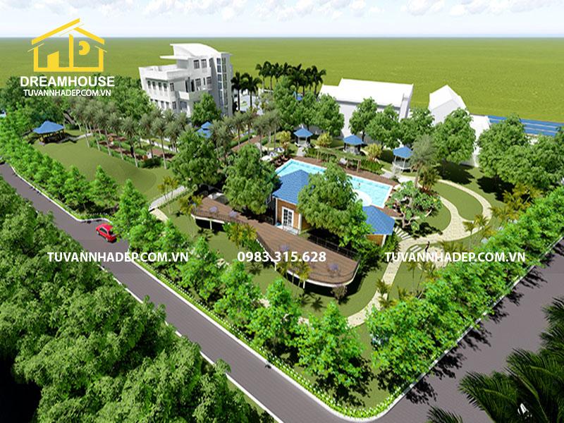 thiết kế cảnh quan sân vườn biệt thự 2000m2
