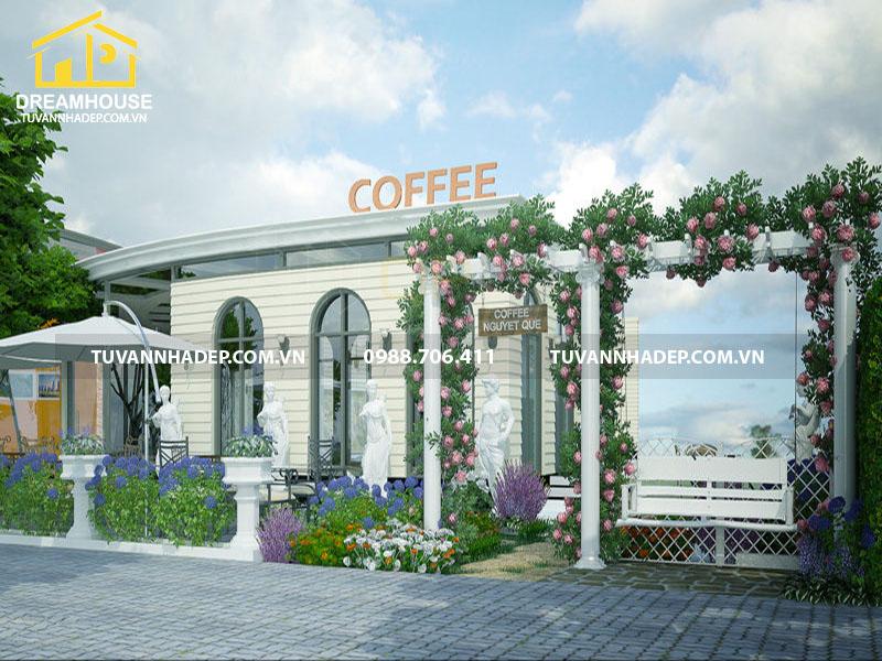 thiết kế sân vườn cafe 250m2