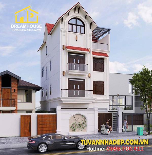 bản vẽ góc nghiêng Thiết kế nhà phố tân cổ điển 4 tầng 8x15m mái thái ở Hà Nội