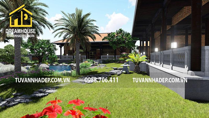 Sân vườn biệt thự nghỉ dưỡng