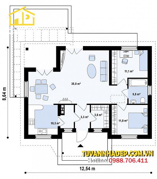bản vẽ mặt bằng nhà cấp 4 hai phòng ngủ 110m2