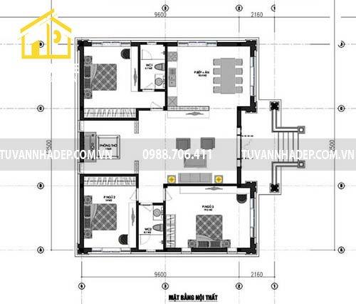 Chi tiết mặt bằng nhà cấp 4 mái thái 3 phòng ngủ