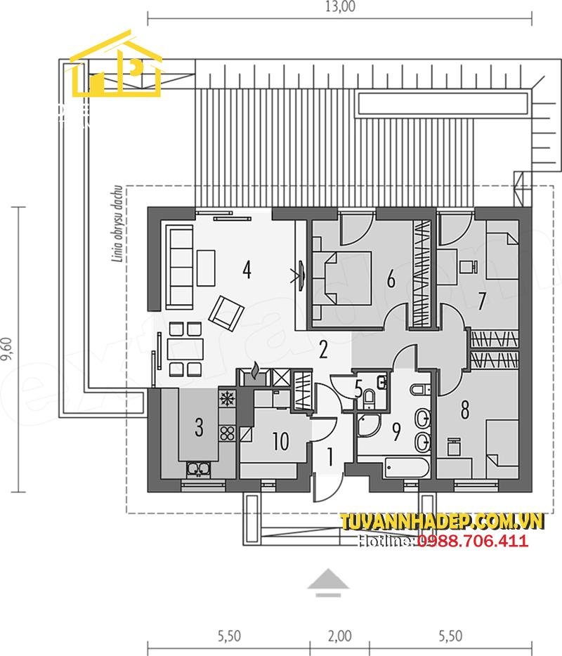 chi tiết nhà cấp 4 ba phòng ngủ 125m2