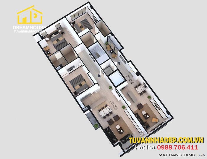 bố trí tầng 3 nhà phố 6 tầng cho thuê 70m2
