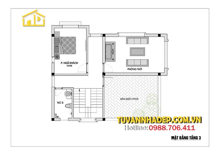 bản vẽ mặt bằng tầng 3 biệt thự 3 tầng mái thái 90m2
