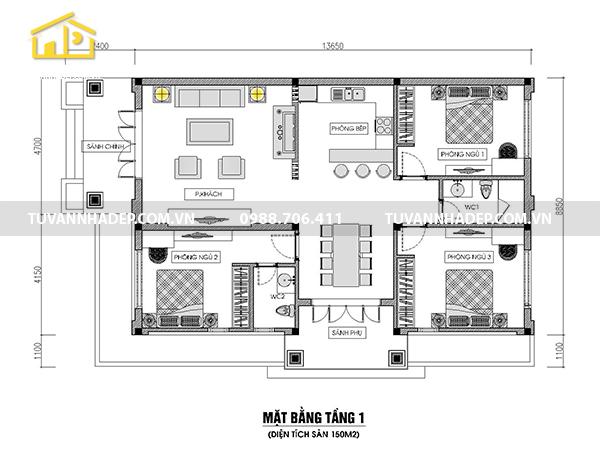 công năng nhà cấp 4 3 phòng ngủ 150m2