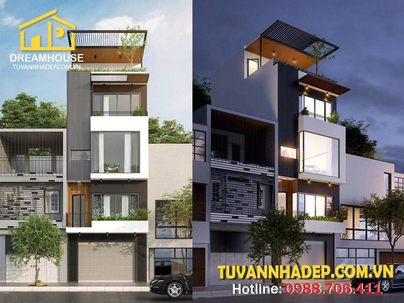 Mẫu thiết kế nhà phố 4 tầng kết hợp kinh doanh 50m2