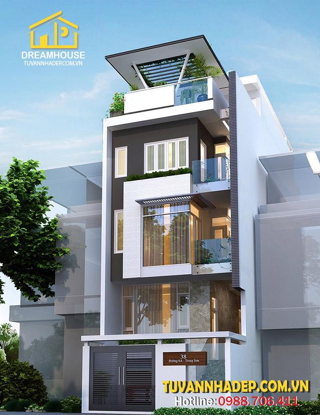 phối cảnh mặt tiền nhà phố 6 tầng 6x18m