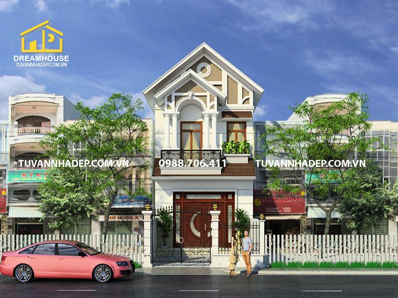 Thiết kế nhà phố 2 tầng mái thái 60m2 1 tum ấn tượng tại Nam Định