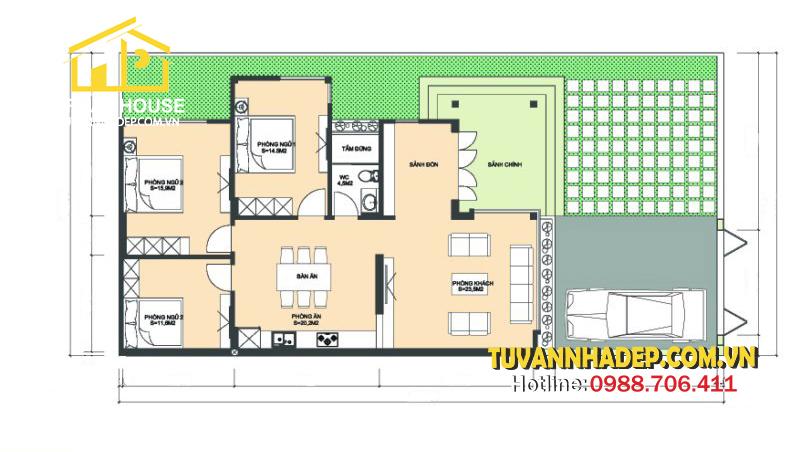 chi tiết mặt bằng nhà cấp 4 3 phòng ngủ 220m2