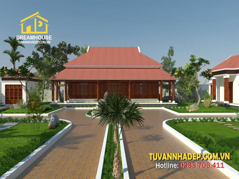 Thiết kế nhà cấp 4 5 gian kết hợp điện thờ kiểu truyền thống
