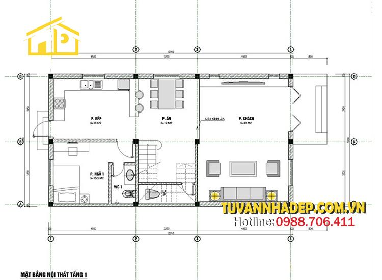 bản vẽ tầng 1 nhà phố 3 tầng mái thái mặt tiền 7m