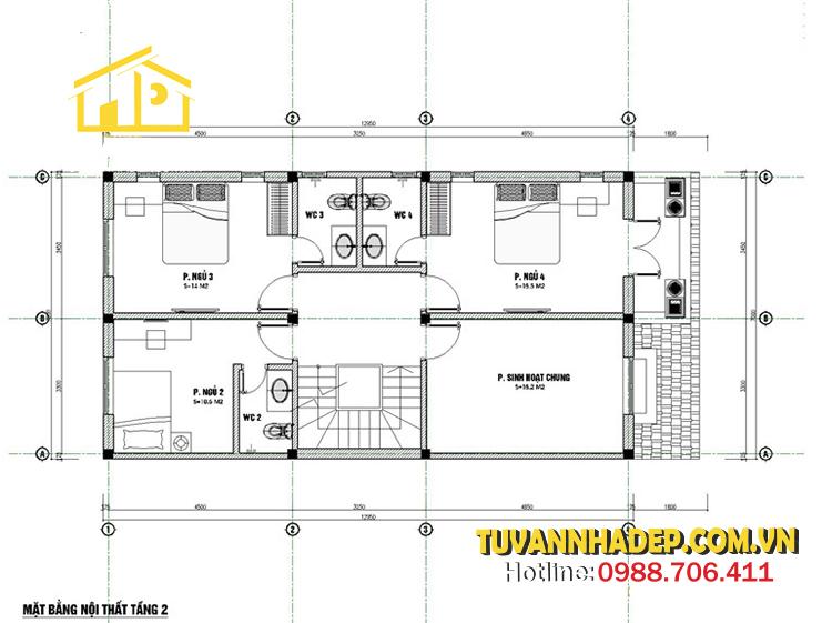 bản vẽ tầng 2 nhà phố 3 tầng mái thái mặt tiền 7m