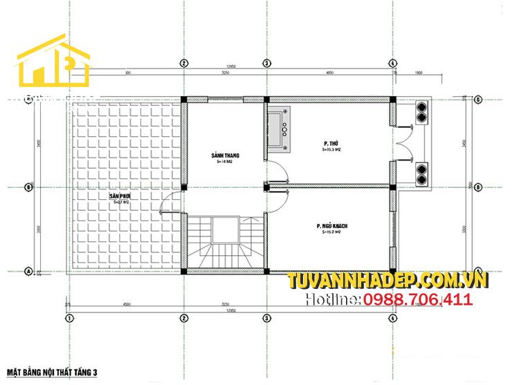 công năng mặt bằng tầng 3 nhà phố 3 tầng mái thái mặt tiền 7m