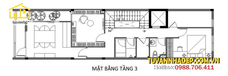 bố trí công năng tầng 3 nhà phố 4 tầng 4x13m