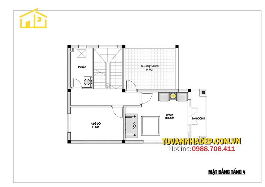 sắp xếp tầng 4 nhà phố tân cổ điển 4 tầng 8x15m
