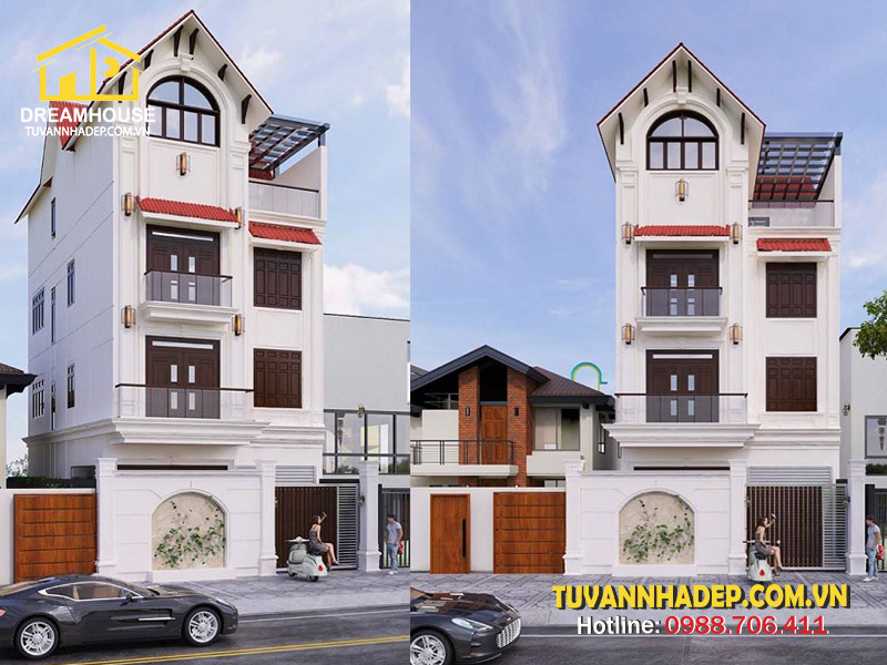 Thiết kế nhà phố tân cổ điển 4 tầng 8x15m mái thái ở Hà Nội