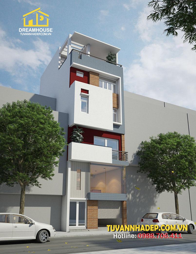 nhà phố 5 tầng 60m2 có gara ô tô nhìn từ xa