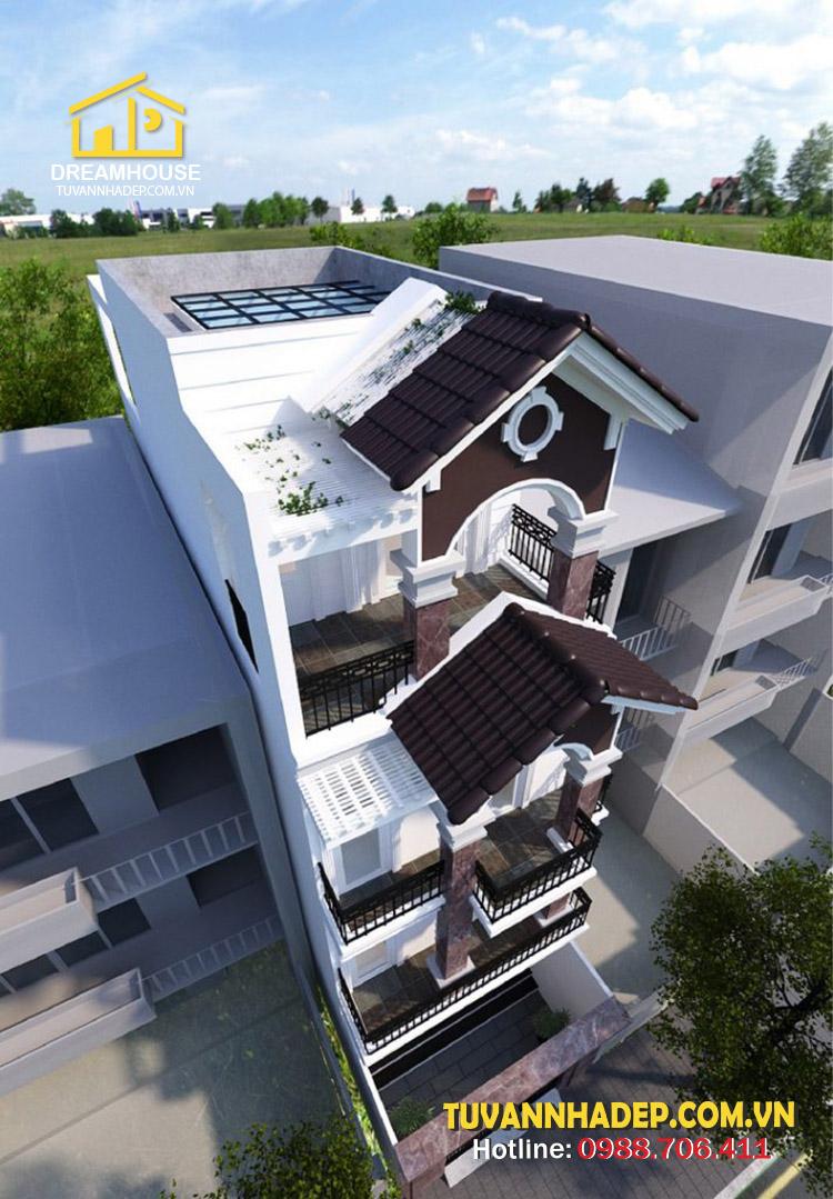 hình ảnh nhà phố mái thái 3 tầng 80m2 nhìn tổng thể
