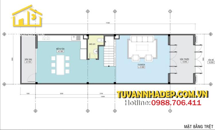bố trí công năng tầng 1 nhà phố mái thái 3 tầng 80m2