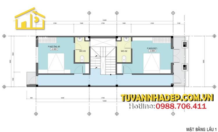 bố trí mặt bằng lầu 1 nhà phố mái thái 3 tầng 80m2