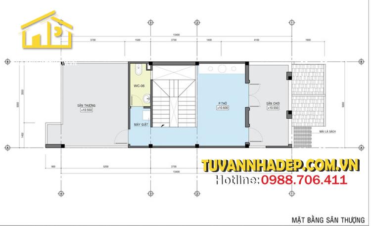 bản vẽ mặt bằng tầng 4 nhà phố mái thái 3 tầng 80m2