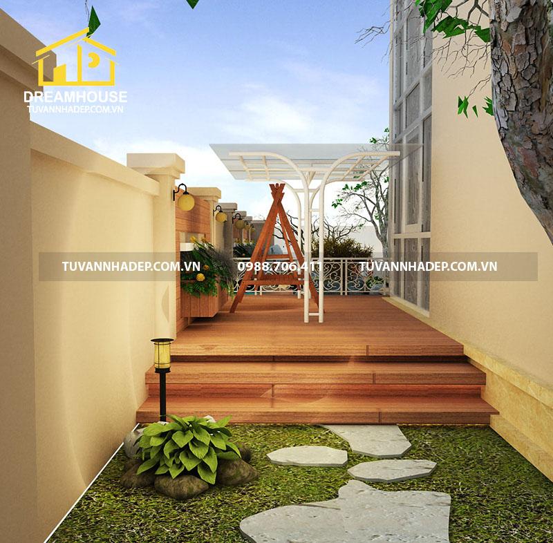 Thiết kế cảnh quan sân vườn căn biệt thự 240m2
