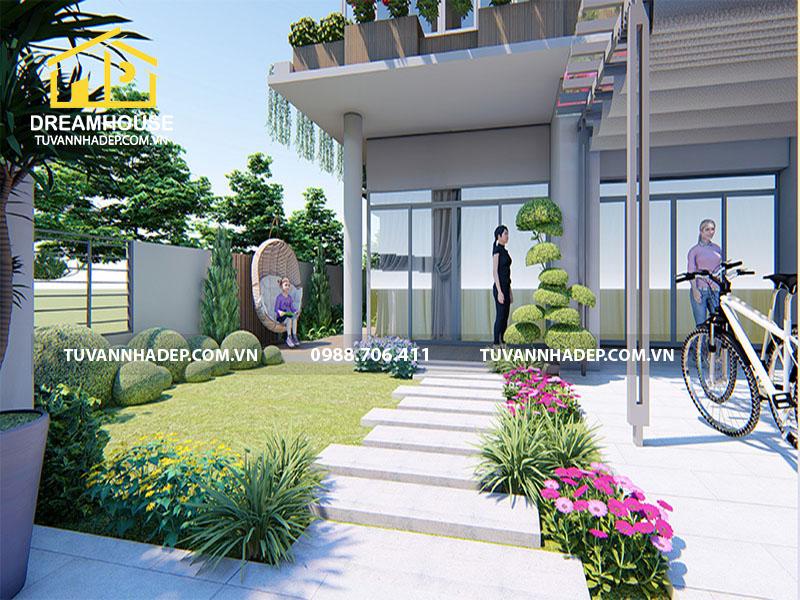 Thiết kế sân vườn biệt thự 200m2 hiện đại mang cuộc sống xanh