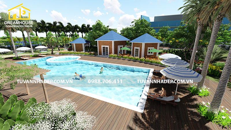 Khuôn viên căn biệt thự được thiết kế hồ bơi hiện đại