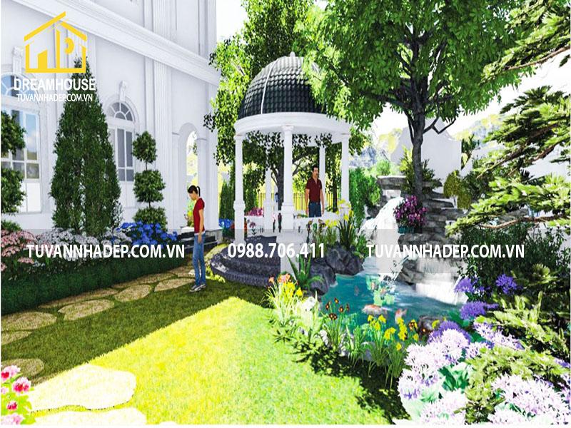 Mẫu thiết kế sân vườn biệt thự 420m2 đẹp và đẳng cấp ở Hà Nội