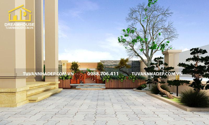 thiết kế sân vườn biệt thự 240m2