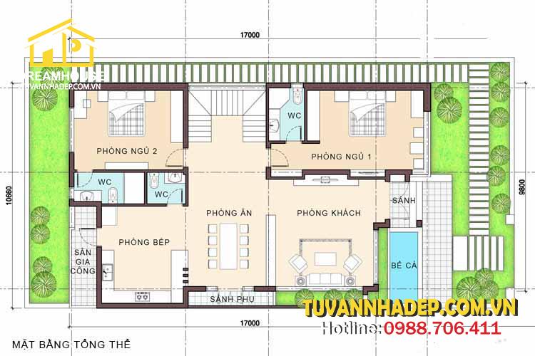công năng tầng 1 biệt thự 2 tầng hiện đại 150m2