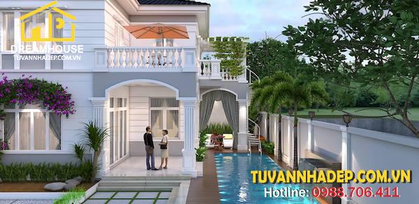 hồ bơi được thiết kế bao quanh biệt thự 2 tầng tân cổ điển 9x11m