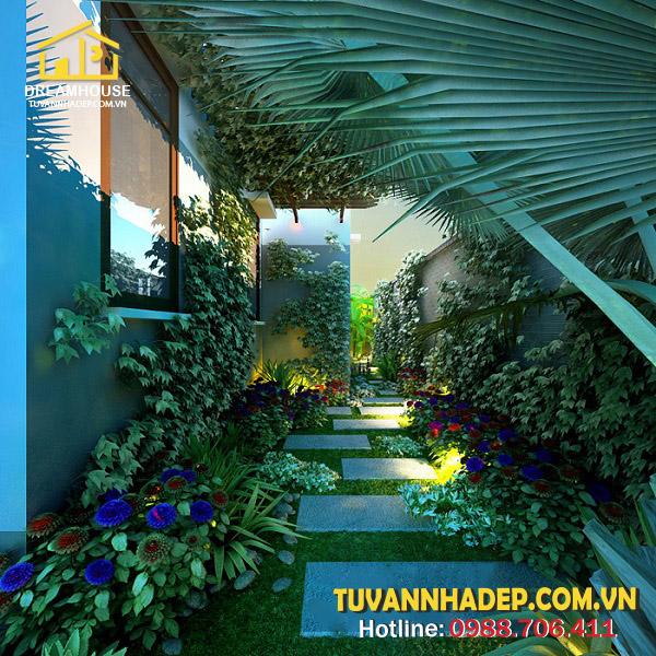 hình ảnh sân vườn biệt thự 3 tầng mái thái 90m2