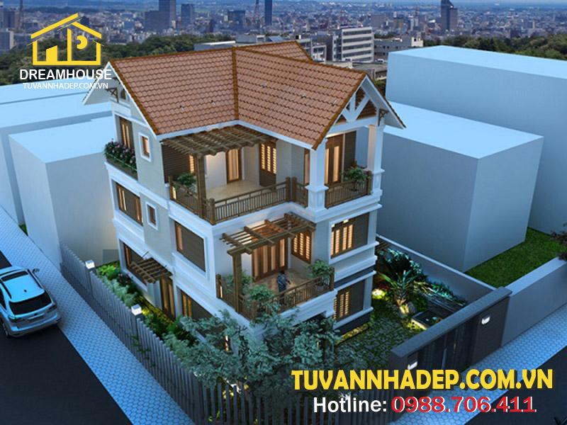 Thiết kế biệt thự 3 tầng mái thái 90m2 đẹp ở Hải Phòng