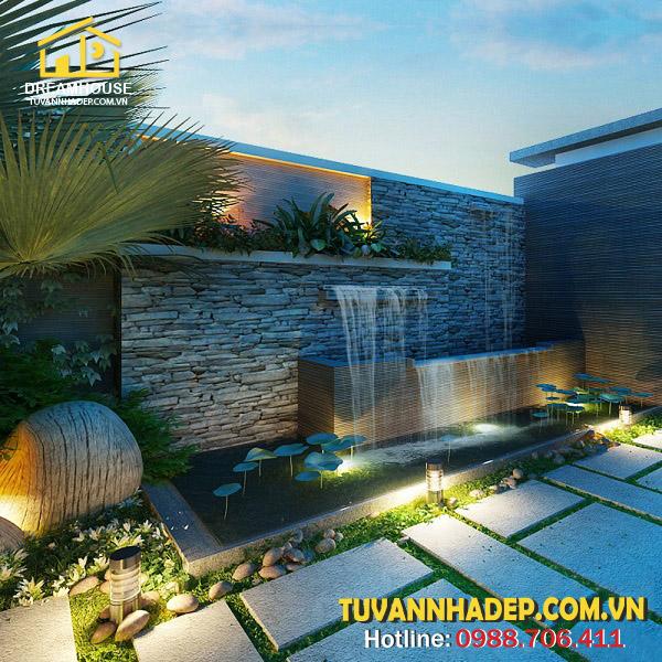 1 góc sân vườn biệt thự 3 tầng mái thái 90m2